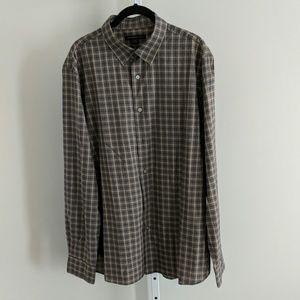 John Varvatos men's cotton plaid button down shirt